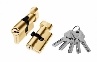 Цилиндр алюминий 60мм (ключ-завертка), 5ключей